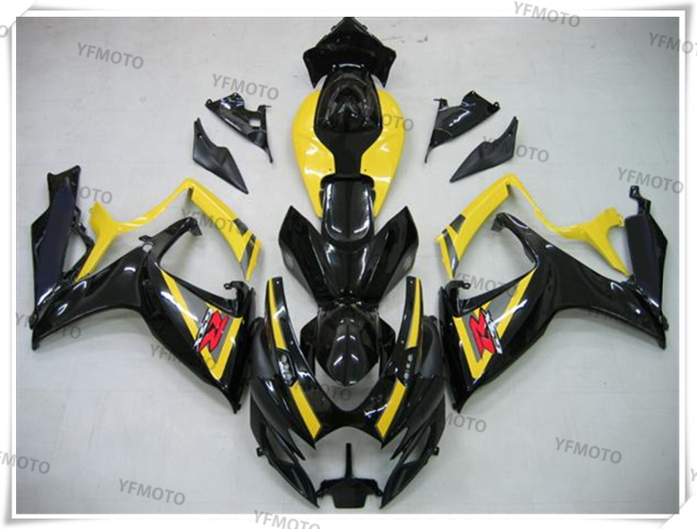 Motorcycle ABS Yellow+Black Fairing Body Work  Cowling For SUZUKI GSXR600-750 GSXR 600 750 K6 2006-2007 +4 Gift new motorcycle ram air intake tube duct for suzuki gsxr600 gsxr750 2006 2007 k6 abs plastic black