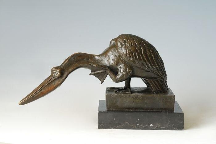 Artisanat en cuivre Bronze Statue peli peut oiseau Sculpture décoration de la maison Feng shui mascotte cadeaux artisanat Collections