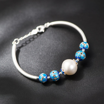 925 Sterling Silver Bracelet Jewelry Hand-cloisonne Beads Bracelet Natural Freshwater Pearl Bracelet Wholesale