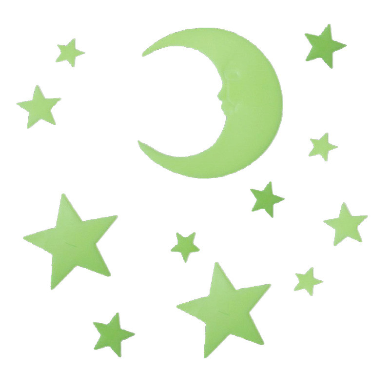 Stereoscopic Romantic Moon Star Night Fluorescence Stick Night Light Wall Stick For Child Bed Room Activity Room Decoration