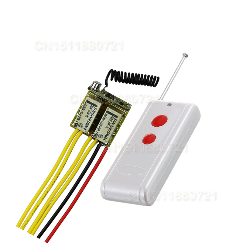 Micro 2CH Relay Remote Switch 3.7v 9v 12v 2Button Remote NO COM NC Small Volume Contact Wireless Switch dc 12v relay remote switch no com nc contact wireless switch 2a relay rf rx normally open close lithium aaa battery supply ask