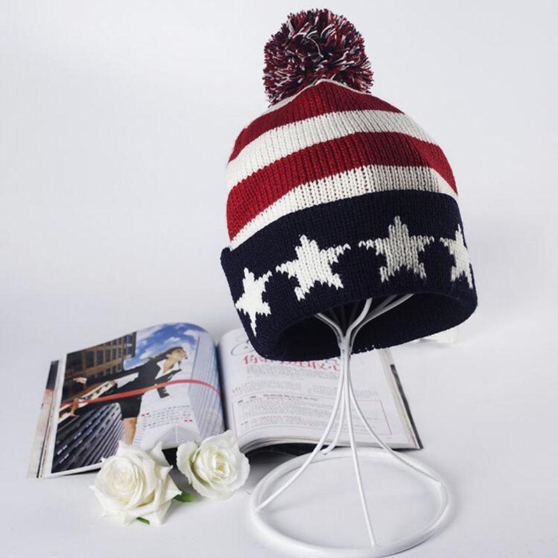Cheap Usa American Flag Beanie Hat Wool Winter Warm