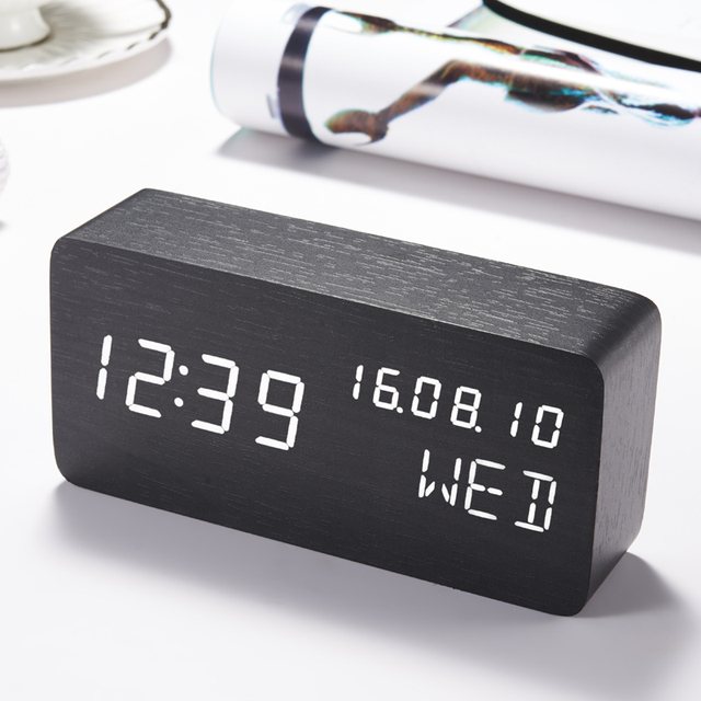 16da24e5405 LED Cube Wooden Clock Voice Control Electronic Desk Table Clock LED Digital  Watch Nixie no Radio