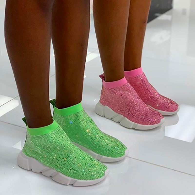 Crystals Sock Boots Sport Female Flat Polyester Spandex Ankle Length Rhinestones All Over Sock Sneakers Casual Shoes Spring 2019