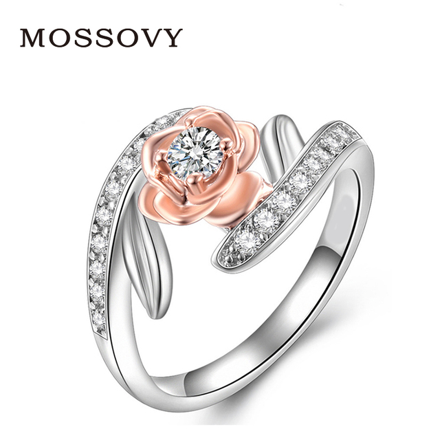Mossovy Rose Gold Ring Flower Zircon Engagement Ring Fashion Jewelry Wedding Rin