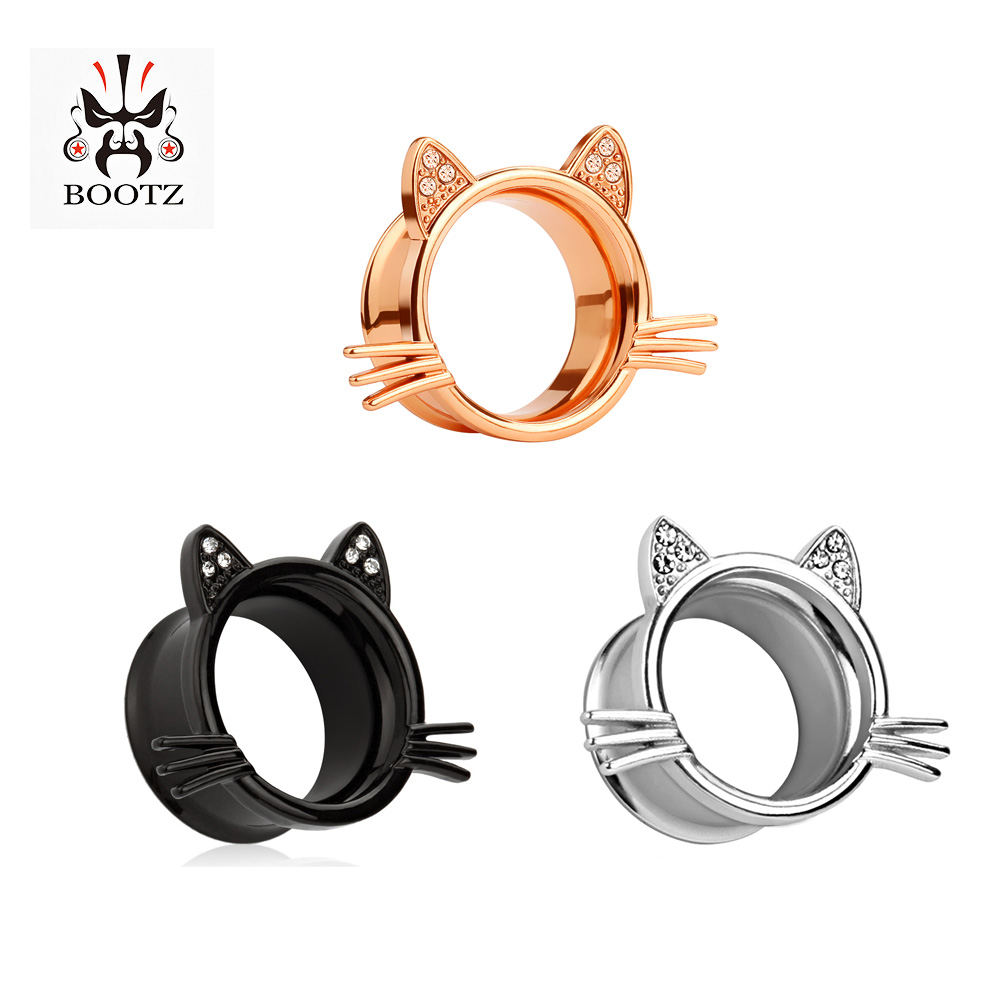 KUBOOZ Ear Piercing Tunnel Plugs Cut Cat Crystal Stainless Steel Earring Expander Fashion Body Jewelry Gift