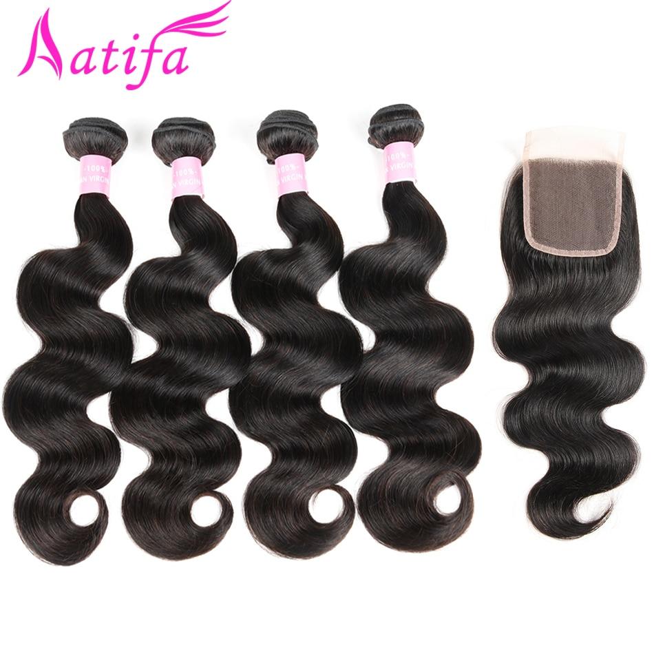 Brazilian Body Wave 4 Bundles with Closure 100 Human Hair Bundles with Closure 5 Pcs lots