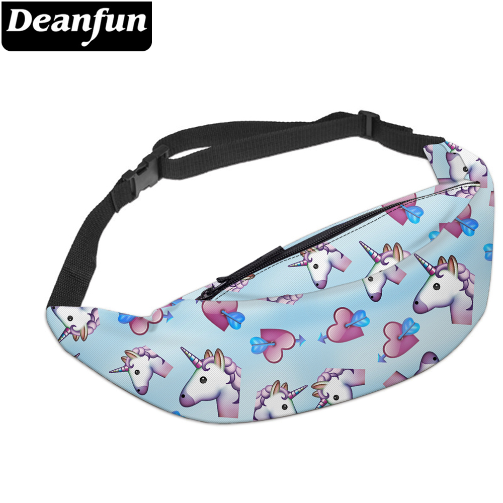 Deanfun 3D Printed Waist Bags Lovely Heart Unicorns Cute Fanny Pack For Women Gift YB16