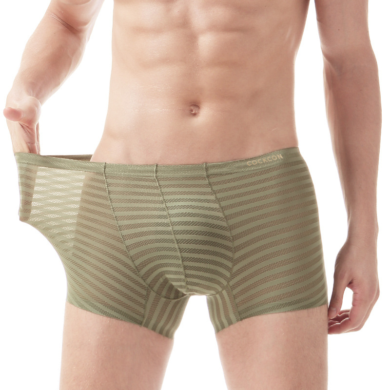 Ultra-thin Transparent Sexy Breathable Male Underwear Ice Silk Stripe Mens Boxer Shorts Seamless Soft Man U Pouch Underpants