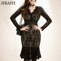 Sexy Women Black Lace Dress New 2018 Winter V Neck Long Sleeve Club Celebration Bodycon Bandage