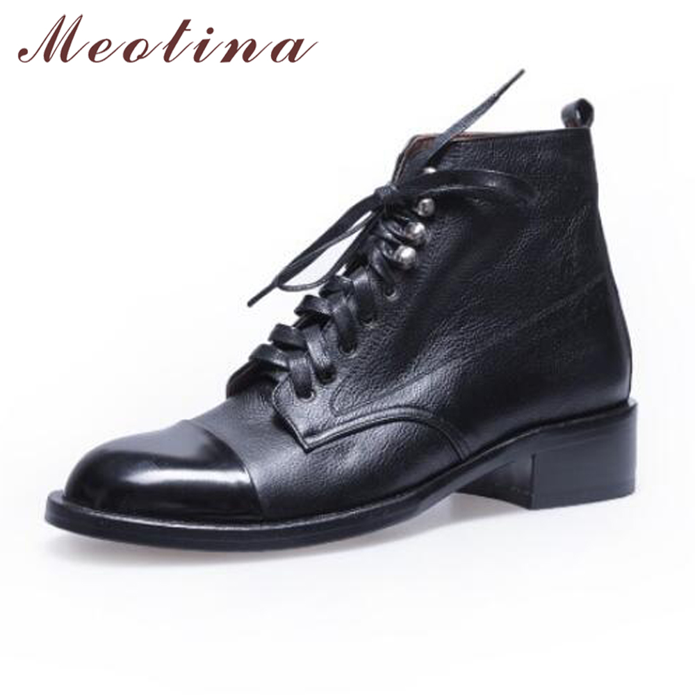 Meotina Ankle Boots Women Natural Leather Martin Boots Genuine Leather Lace Up Motorcycle Boots Autumn Ladies Shoes White Black women shoes spring autumn bright black martin boots lace up platform ankle boots quality genuine leather female motorcycle boots