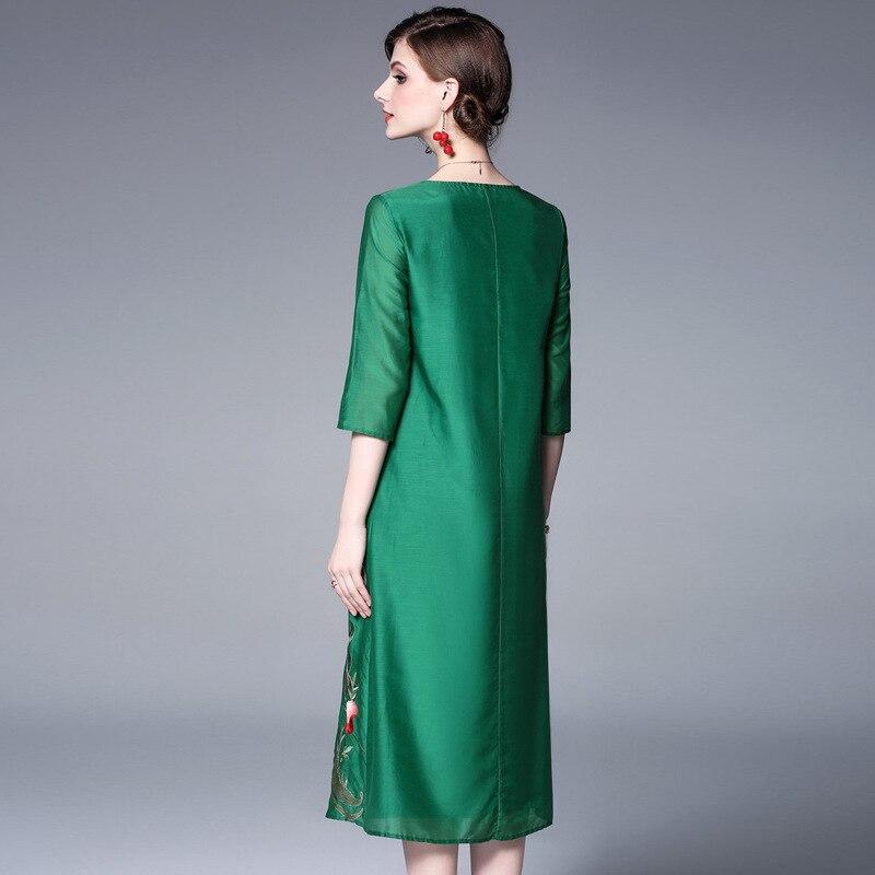 Printemps mollet Exquis Soie Broderie Coton Green Femmes 2019 Robes Qualité De Allover Été Top Partie Robe white Mi Xxl Luxueux PwAatqna6x