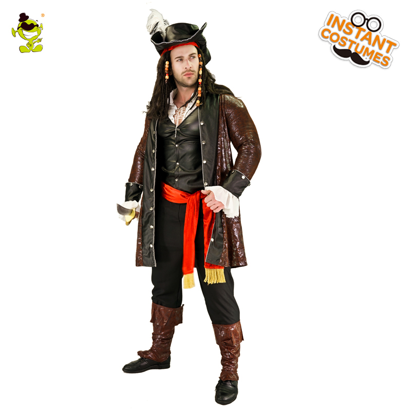 Adult Men's Luxury Pirate Costume Imitation Halloween Party Cosplay Pirate Clothes Fancy Dress Up Deluxe Pirate Costumes    1