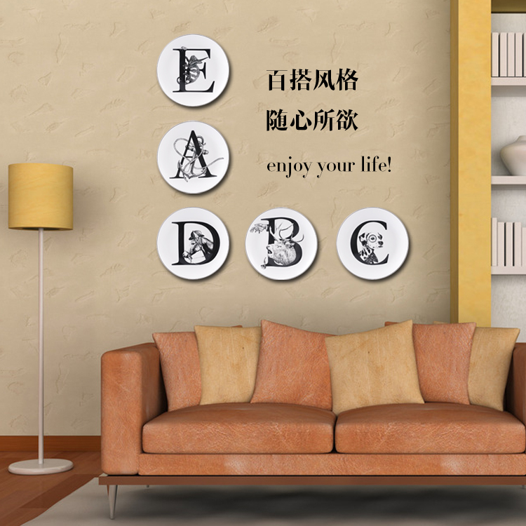 Creative ceramic wall animal plate decorative letters wall dishes home decor crafts room wedding decoration porcelain figurine in Bowls Plates from Home Garden