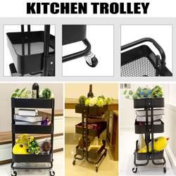 (Корабль UK) Кухня тележка 3 слоя Office корзину сворачивающийся чехол стойки семинар тележка с четырьмя колесами Портативный корзина для