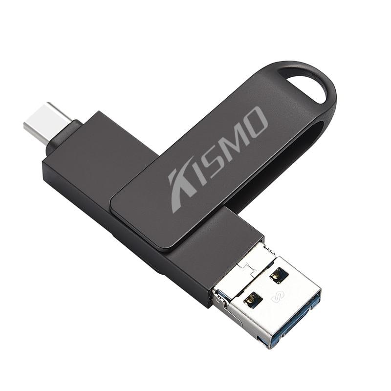 Kismo 3 в 1 USB3.0 type-C флэш-накопитель 16 ГБ 32 ГБ 64 ГБ 128 ГБ Micro USB памяти OTG флеш-накопитель для Android телефонов ПК - Цвет: Черный