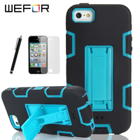 Shockproof Hybrid Armor Rubber Heavy Duty Case Cover For Apple IPhone 4 4S Stand Phone Cases