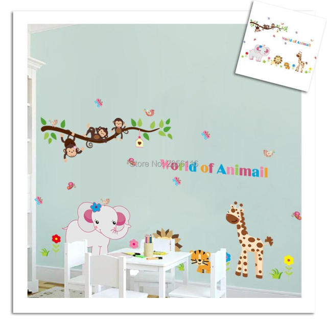 Cute Animals Elephant Monkey Wall Stickers Kids Room Decorative DIY Cartoon  Kindergarten Wall Decals