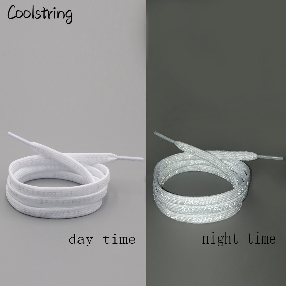 Coolstring Flat Printed Patterned White Black 3M Reflective Letter Japanese Shoelaces Flashy Bootlaces Patterns Dress Shoe Laces