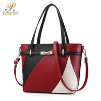Prettyzys 2017 Luxury Brand Women Leather Handbags Female Shoulder Bag Women's Casual Tote Bag Patchwork Handbags Sac a Main