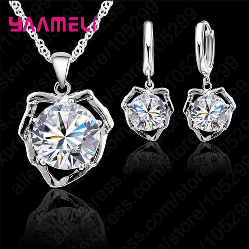Новое поступление геометрические Настоящее серебро 925 проба ожерелье/серьги модные комплекты украшений для женщин обручальные подарки