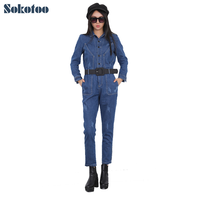 498bfb403a Sokotoo Women s fashion full sleeve denim jumpsuits Lady s high waist  ripped jeans Overalls with belt