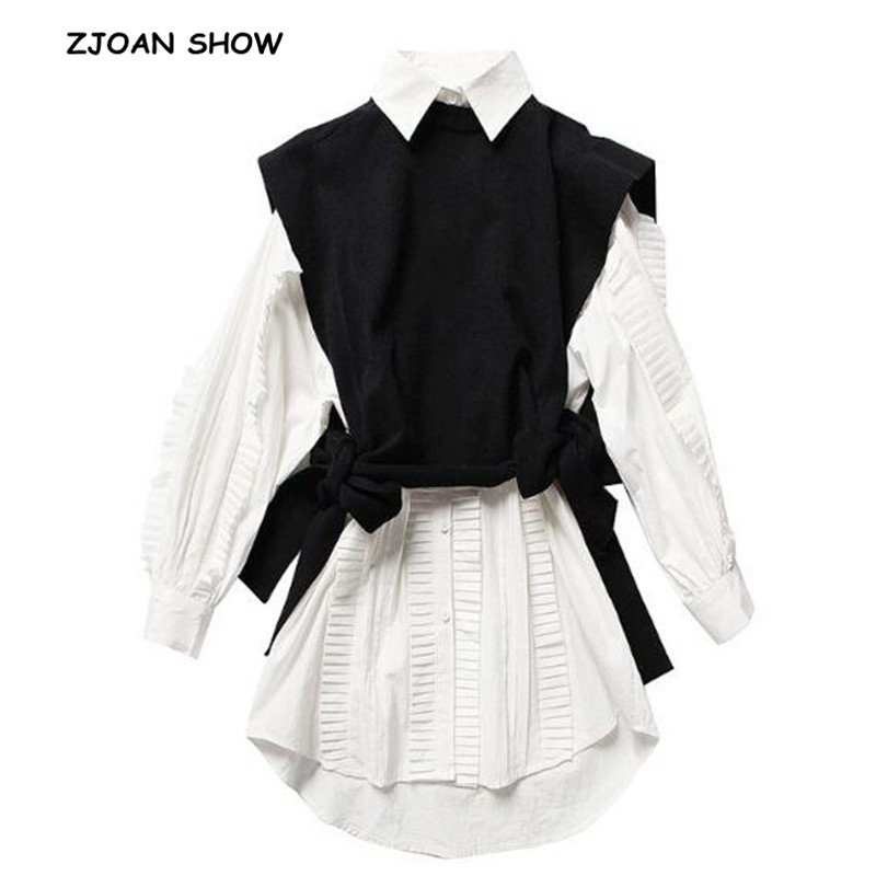 US $19 11 10% OFF|2019 New Women 2pcs 1 set High Street Ruffles Wood ears  White Shirt Dress Lacing up Black knitting Sweater Vests femme Vestido-in