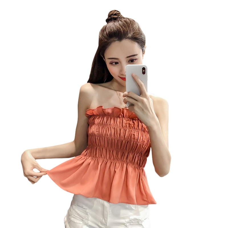 Sexy Women Slash Neck Sleeveless Summer Tops High Elastic Strapless Tank top