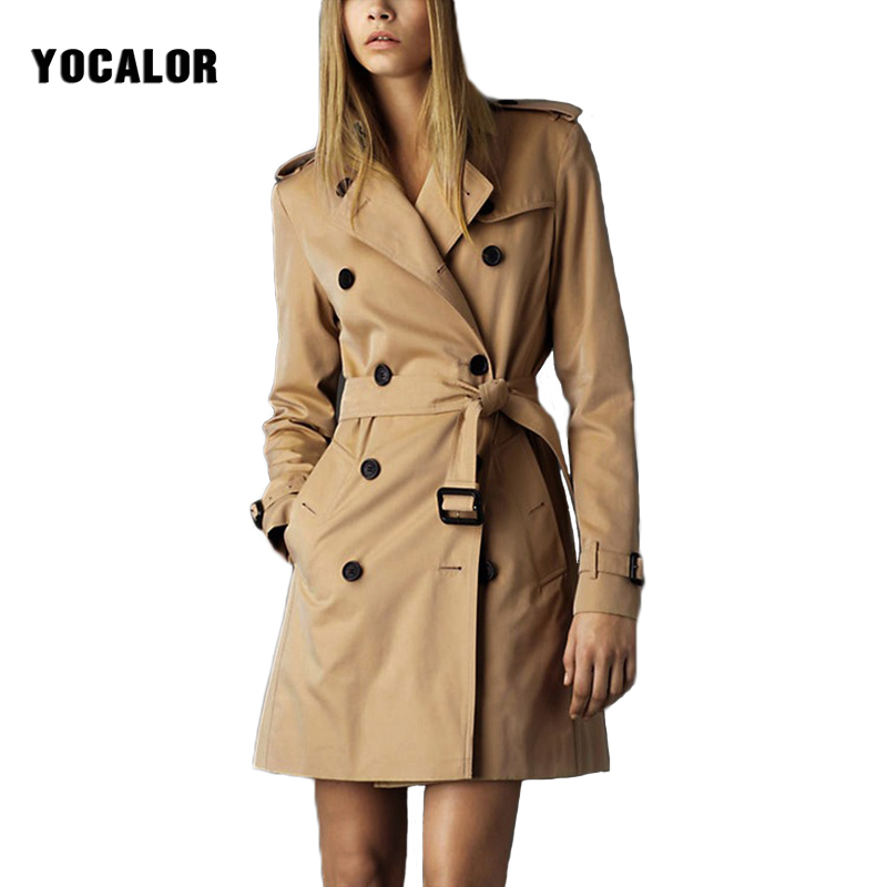 2018 YOCALOR Autumn Famous Brand bur Windbreaker Loose Long Women Coat Tide Female Overcoat Outerwear Coat