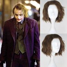 Фильм Бэтмен Темный Рыцарь Джокер мужская Вьющиеся Темно-Русый Аниме Косплей Парики Русый Синтетические Короткие Волосы Пучки