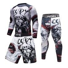 Брендовый мужской спортивный костюм с 3D принтом, облегающий, облегающий, для кожи, спортивный костюм для мужчин, MMA Рашгард, бодибилдинг, топ для фитнеса, спортивный комплект