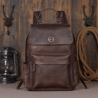 Nesitu высокого класса большой Ёмкость коричневый серый синий Винтаж натуральная кожа 14 ''15,6'' ноутбук Для мужчин рюкзаки мужские дорожные сумк