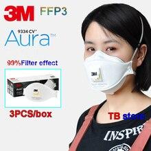 Респиратор 3M 9334+ Aura респиратор ЕС FFP3 уровень жирности и нежирности частиц дыхательная маска 1 коробка из 3 шт. РМ2, 5 респиратор