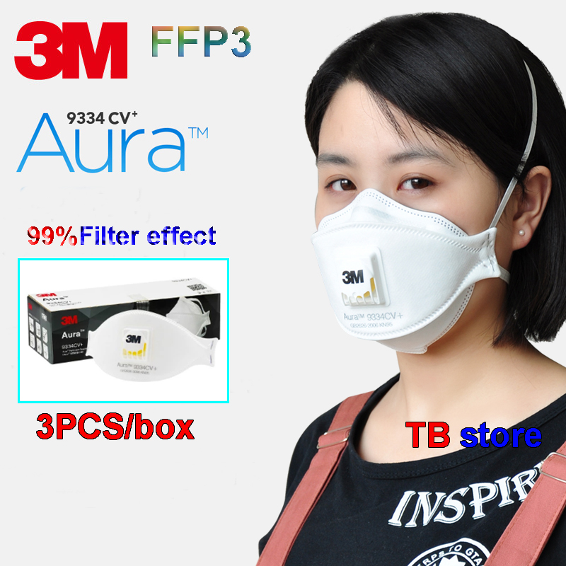 3M 9334 Aura Breathe Mask  FFP3 Level Oily And Non-oily Particulates Breathing Mask Prevention Of Germs PM2.5 Dust Mask