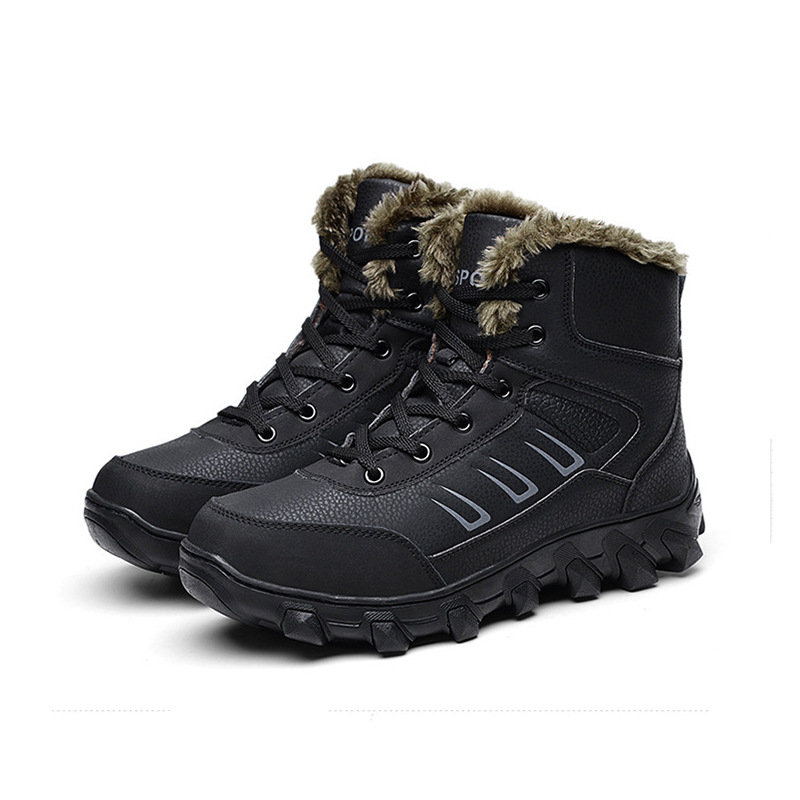 Men Skiing Shoes Outdoor Snow Boots Genuine Leather Faux Fur Lining Snow Boots Outdoor Thermal Hiking Walking Boots High Quality faux fur knitted bowknot snow boots