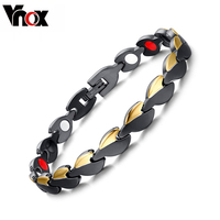 Fashion Men S Healthy Bracelets Bangles Magnetic Power Stainless Steel Gold Black Plated Bracelet Jewelry For