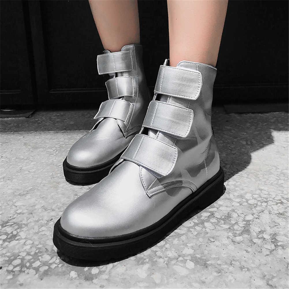 BONJOMARISA 2020 sıcak satış gümüş patik kadınlar 2020 sonbahar büyük boy 34-43 kaymaz yarım çizmeler kadın kürk ayakkabı kadın 34-43