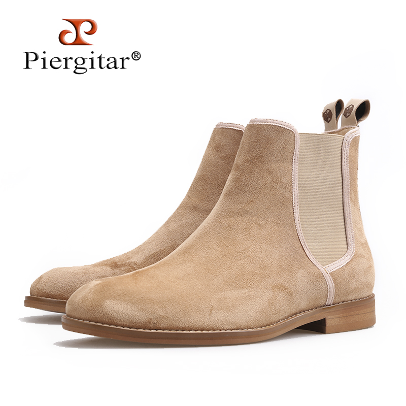 Piergitar 2018 New Handmade Men CHELSEA Boots classic style Cow Suede Men s casual boots outfit