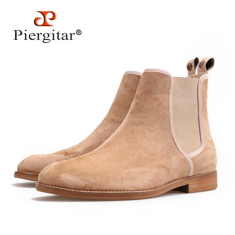 Piergitar nuevos hombres hechos a mano botas CHELSEA estilo clásico vaca gamuza hombres casual botas traje perfecto para primavera otoño desgaste-in Botinas from zapatos    1