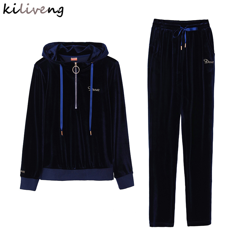 Kiliveng 2018 women 2 piece set top and pants Hooded + full Length 2018 new spring Cotton Spandex sweat suits women 3 color J765
