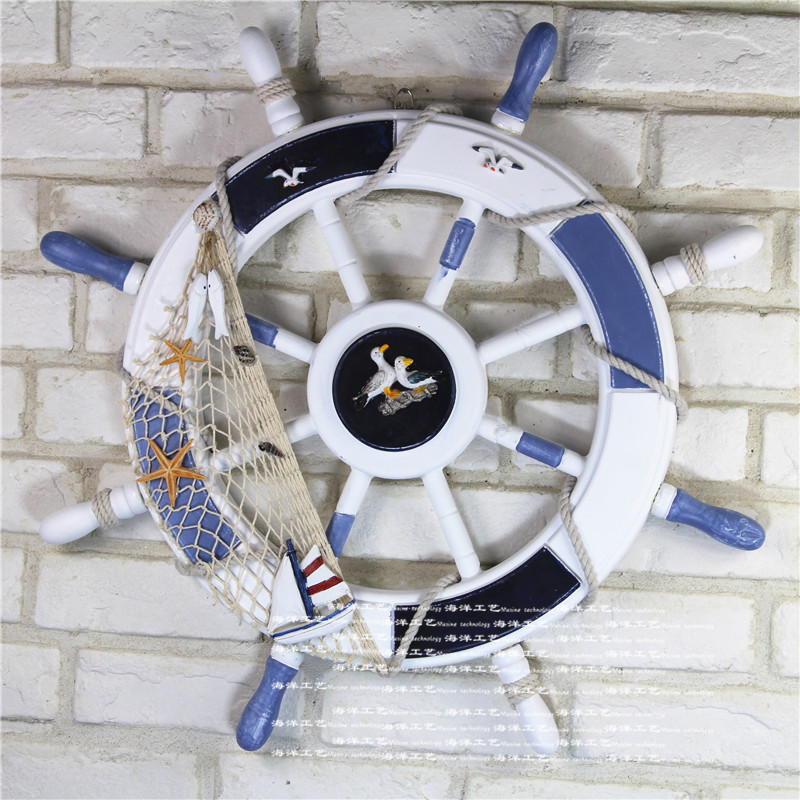 62cm*62cm Wooden Boat Ship Rudder Large Anchor Steering Wheel Nautical Decor Retro Rudder Wall Decoration For Shop Home
