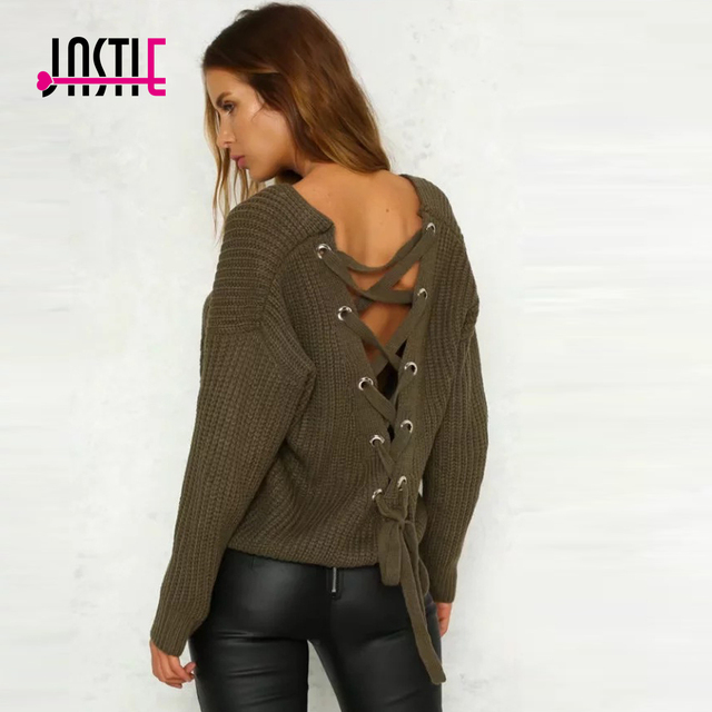 Jastie Sexy Cross Ties Back Women Sweater V Neck Knitted Sweater ...