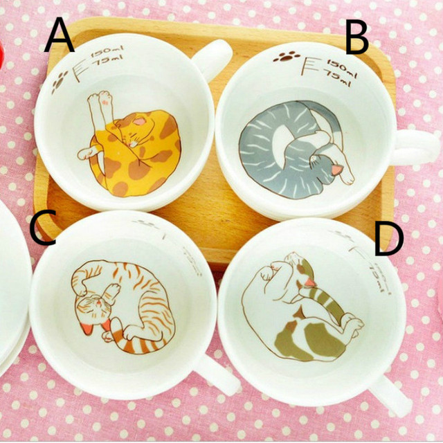 150ml Cute cat cartoon Mug Set