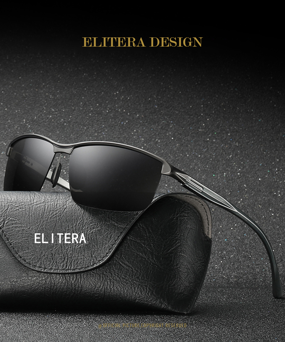 ab398e4621 ELITERA Brand Design Classic Polarized Sunglasses Men Aluminum Magnesium  Square Frame Sun Glasses Driving Goggles UV400 Eyewear