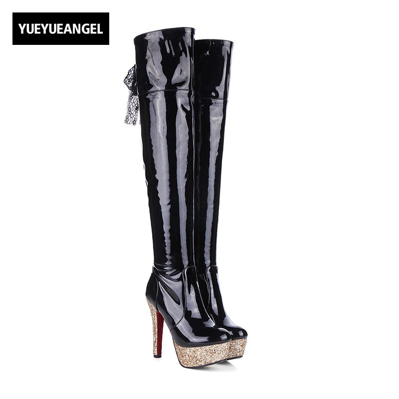 New Fashion Women High Heel Shoes Side Zipper Platform Patent Leather Lady Over The Knee Boots For Women Nightclub Paty Shoes new 2014 flock suede high heel women boots brand over knee high heel boots for women fashion designer women shoes
