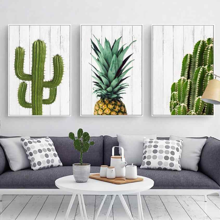 Nordic Cactus and Pineapple Posters And Prints Modern Wall Art Canvas Painting Wall Pictures For Living Room Art No Frame