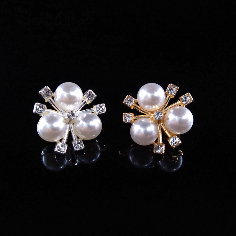 20pcs/lot 2cm*2cm Gold Silver Flower ABS Imitation Pearls Beads With Zircon Bead Caps For Brooch Hair Jewelry Making Findings