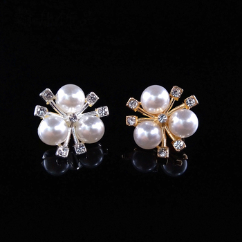 Mibrow 10pcs 2cm*2cm Gold Silver Color Flower ABS Imitation Pearls Beads with Zircon Bead Caps for Brooch Hair Jewelry Making