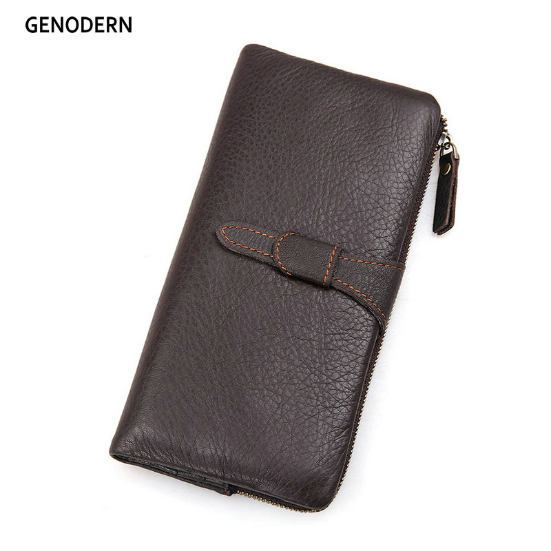 2018 100% Genuine Leather New Luxury Vintage Men Long Wallet Retro Cowhide Wallets Coin Purse Clutch With Zipper For Men 2016 new fashion luxury vintage retro pu leather men long wallet coin purse clutch with zipper hasp for women cards phone holder