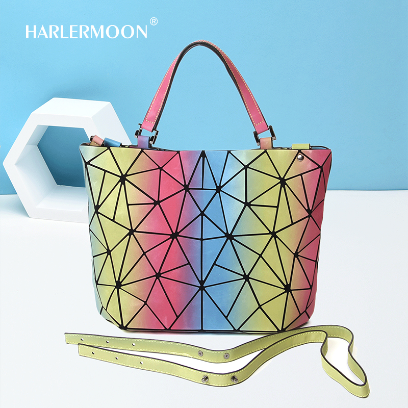 Harlermoon Hot One Geometric Luminous Purses and Handbags Shard Lattice Eco-Friendly Leather Rainbow Holographic Purse for women a single shard